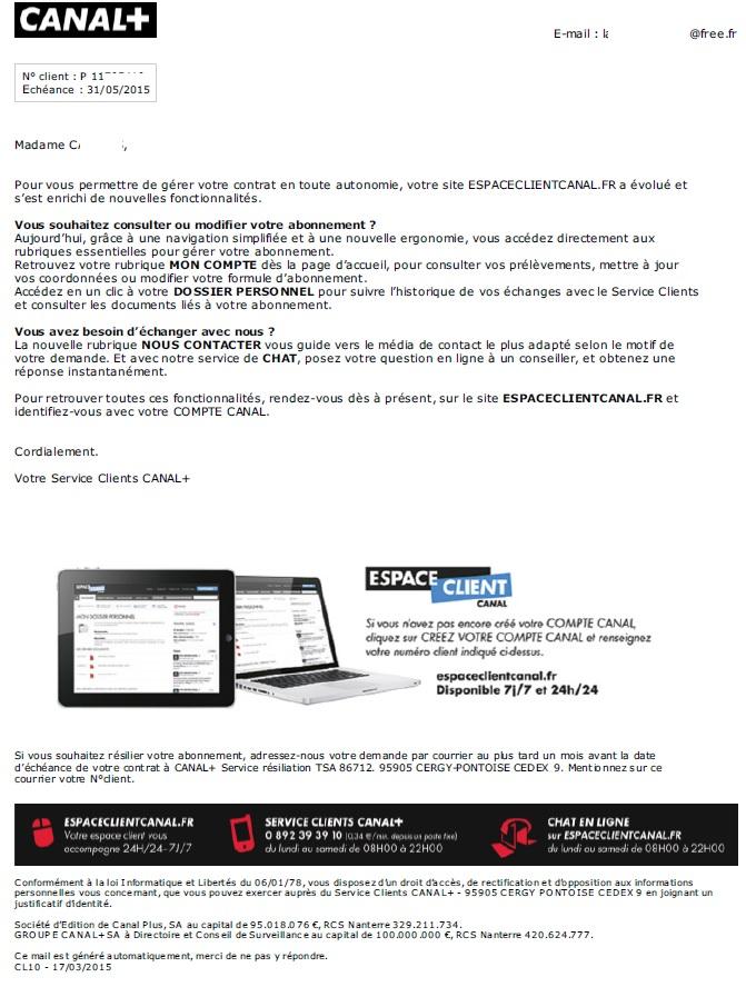 Lettre Resiliation Contrat Canal Plus Ataboxe