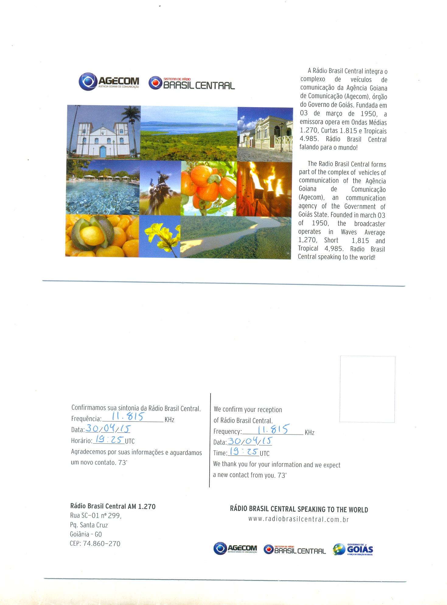 eQSL de RBC - Bresil 15050509213422101