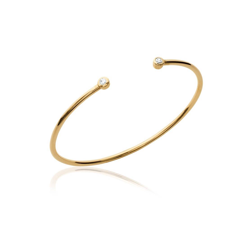 Grossiste Bijoux Fantaisie Dom Tom : Bracelet jonc rigide plaque or et oxyde de zirconium bijou