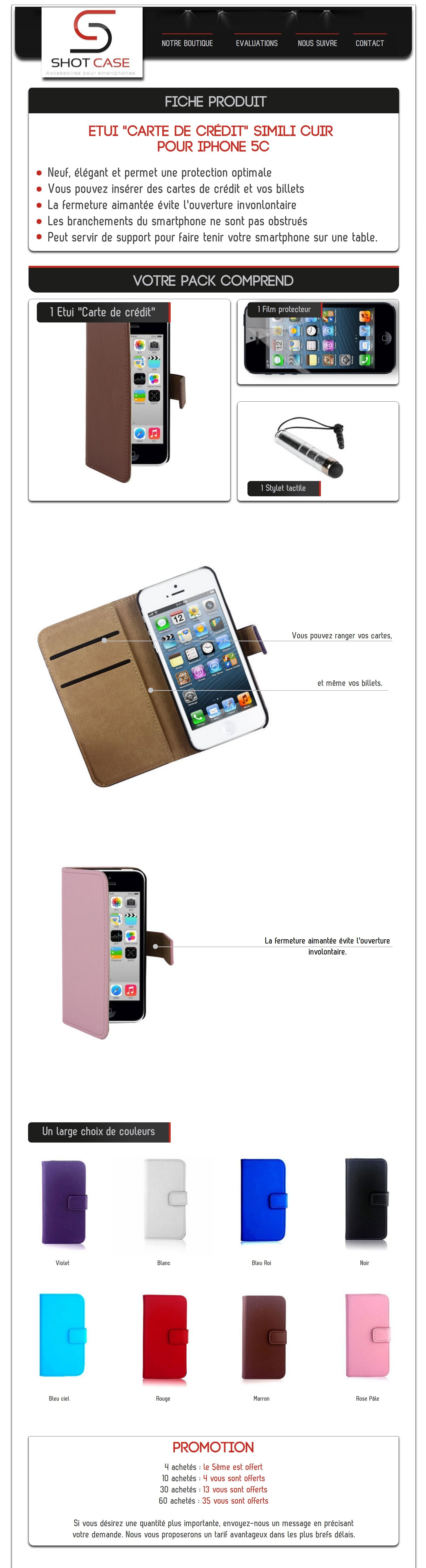 Etui porte feuille iphone 5C cuir (annonce)