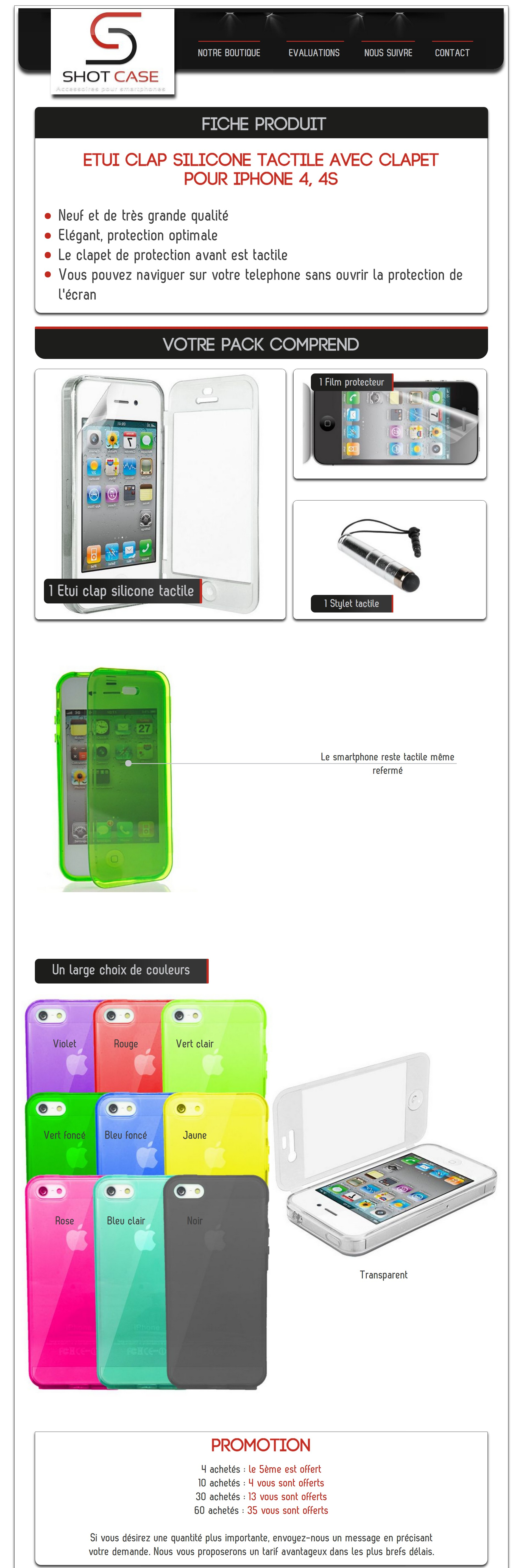 Etui silicone flip Iphone 4 (annonce)