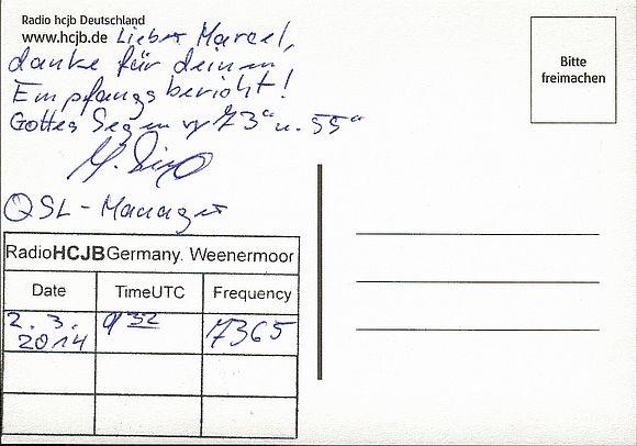 "QSL de HCJB ""Allemagne"". 150606103626587105"