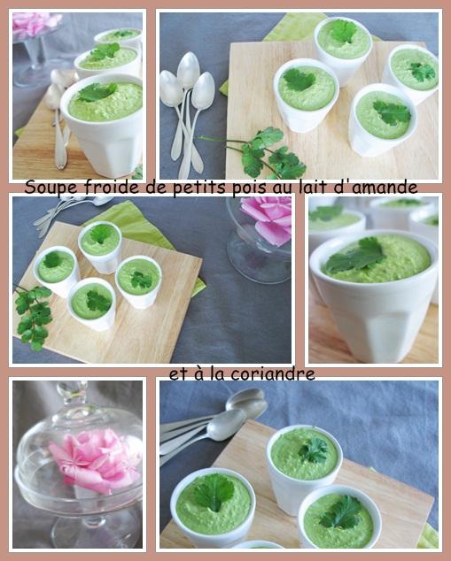 soupe froide petits pois lait amande  coriandre