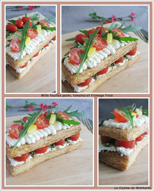 mille feuille pesto tomate fromage frais