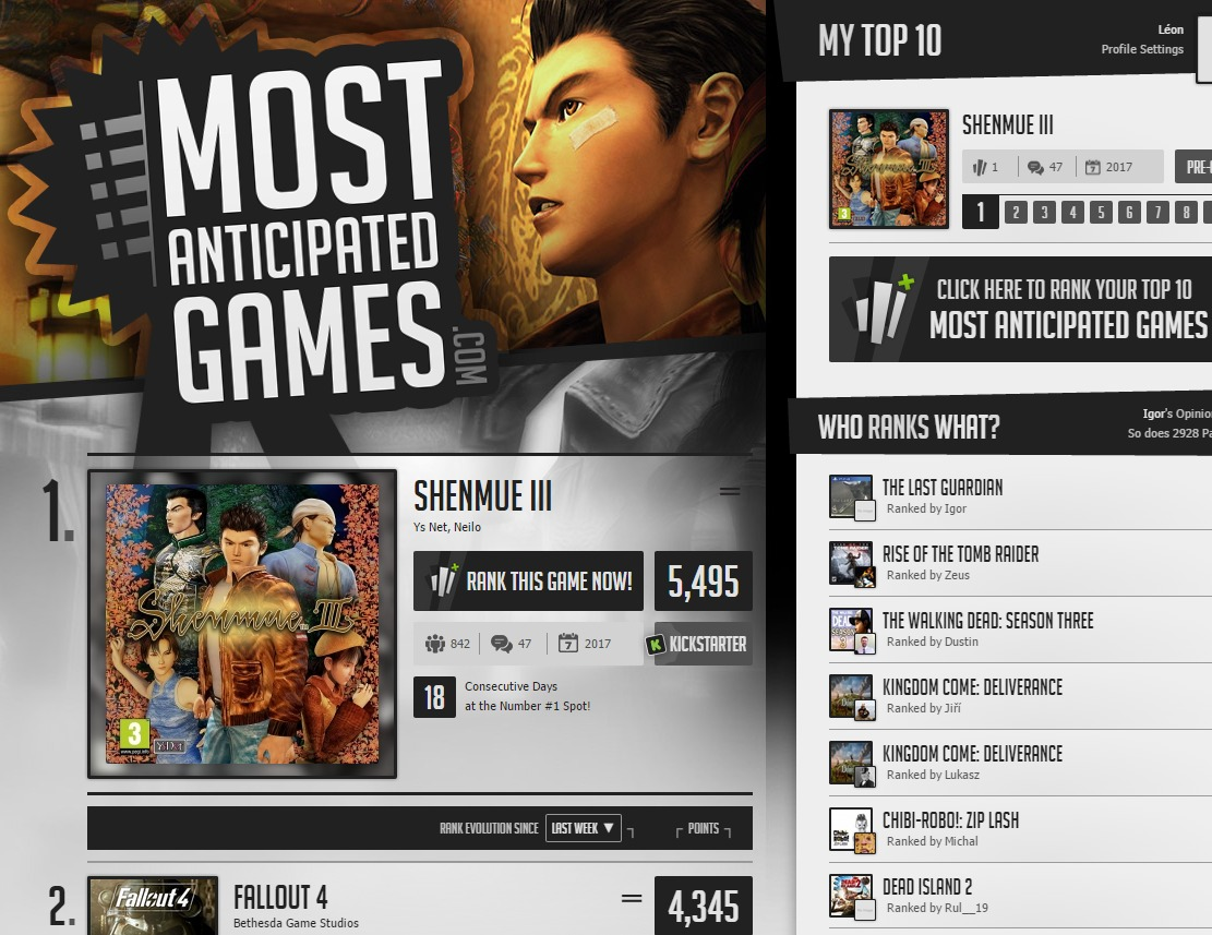 World s Top 100 Most Anticipated Games.