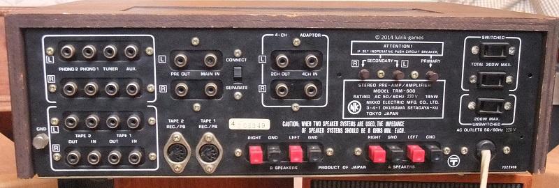 Ampli Nikko TRM-600 arrière et connexions