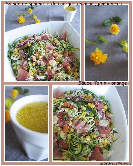 salade courgette maïs jambon