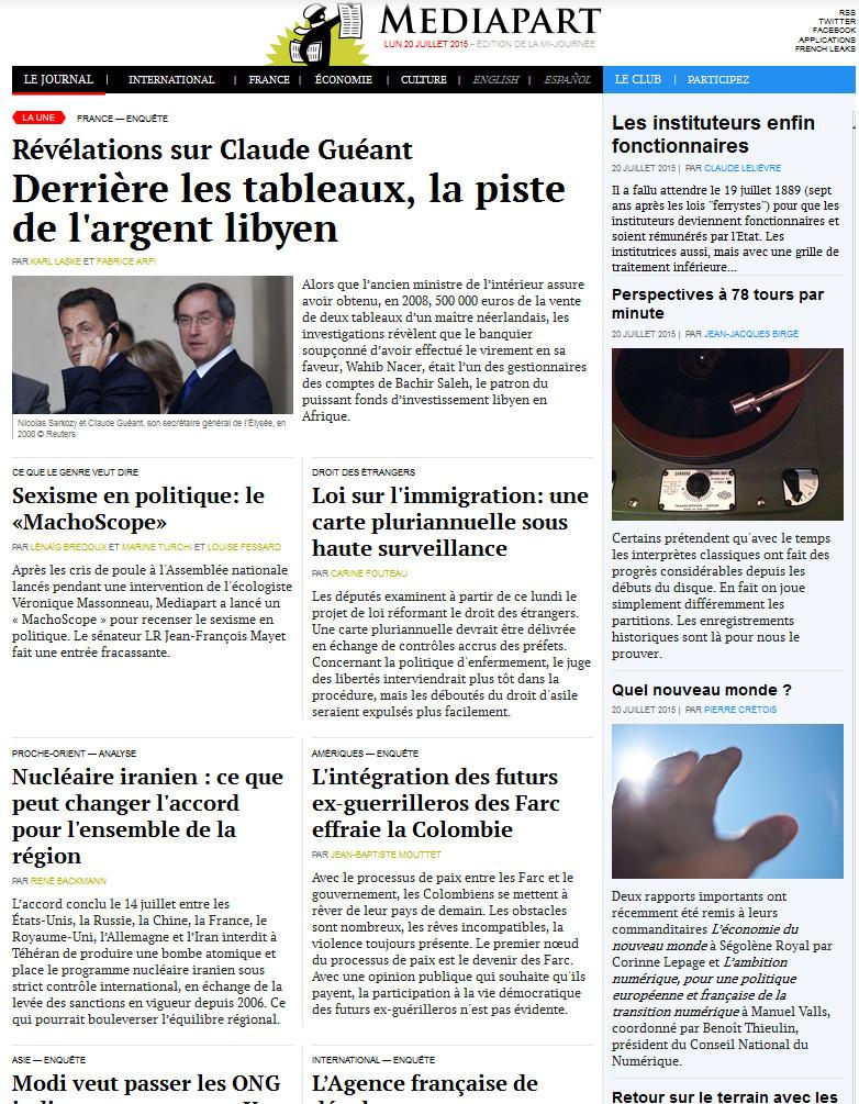 Médiapart Du 20 Juillet 2015