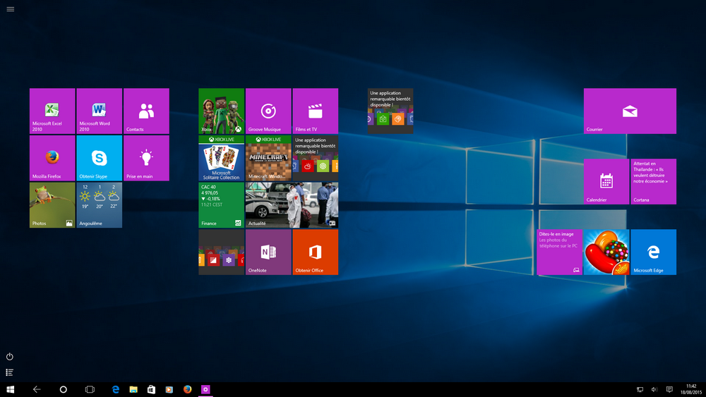 bureau windows 10 innactif