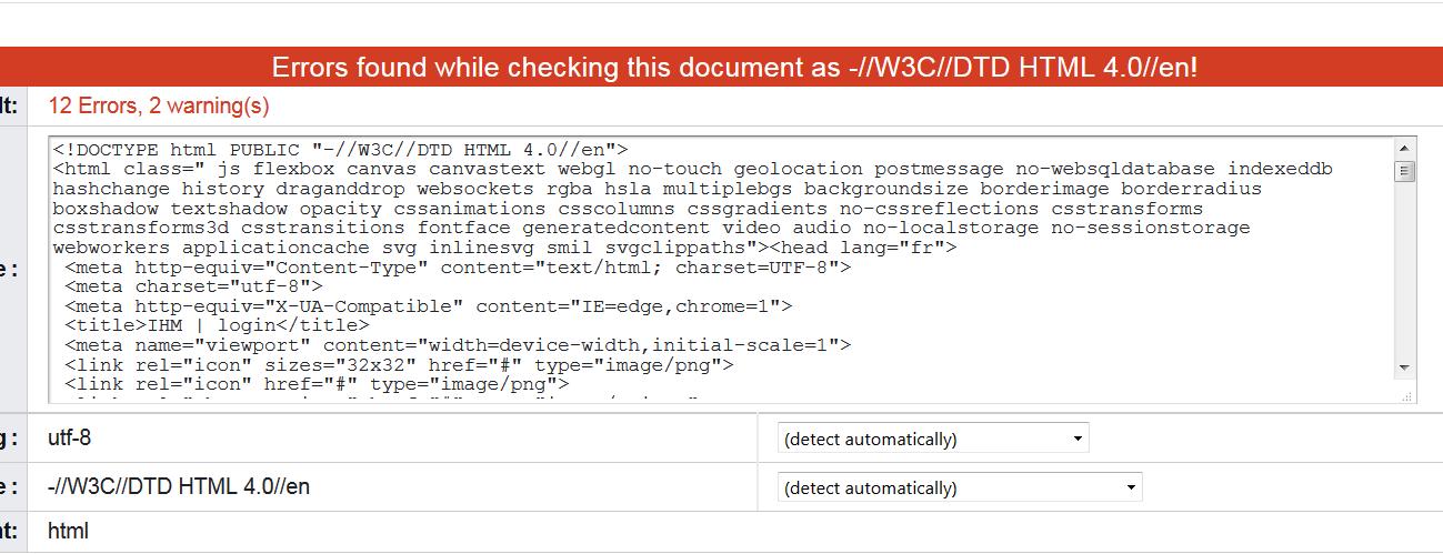 Validation HTML