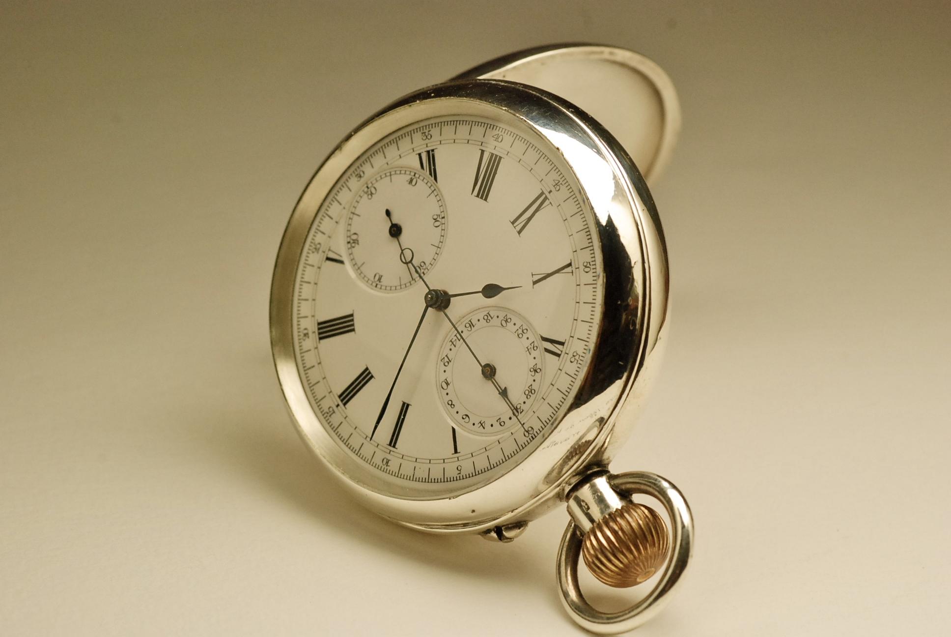 ancienne montre gousset chronographe anglais argent. Black Bedroom Furniture Sets. Home Design Ideas