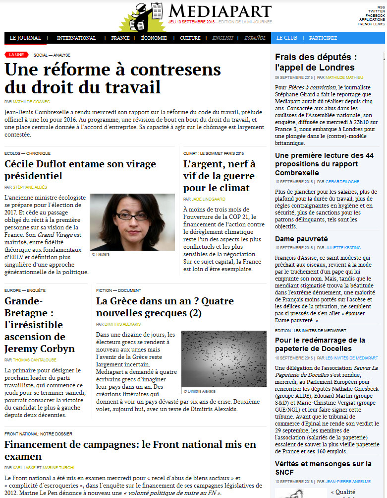 Médiapart Du 10 Septembre 2015