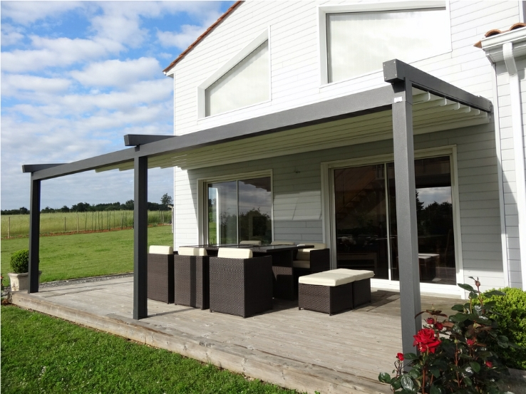 projet pergola alu mixte panneaux sandwich verre store. Black Bedroom Furniture Sets. Home Design Ideas