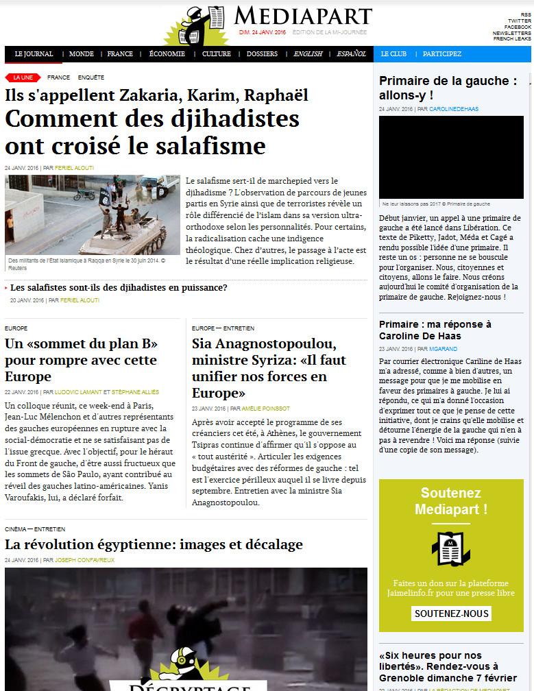 MÉDIAPART du Dimanche 24 Janvier 2016