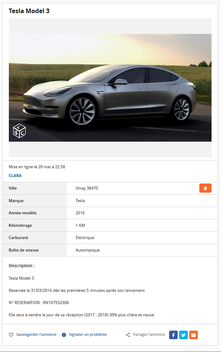 forum automobile propre 1 ere model 3 a vendre tesla model 3. Black Bedroom Furniture Sets. Home Design Ideas