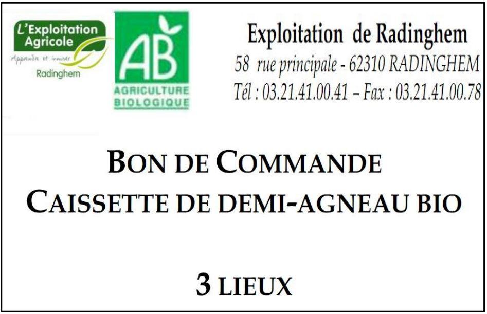 Vente de caissettes d'agneau certifié BIO. Contact : frederic.grattepanche@educagri.fr
