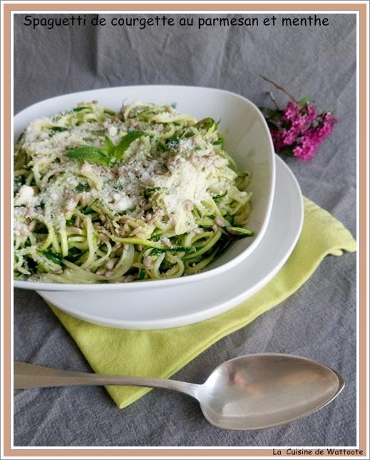 spaguetti courgette parmesan menthe