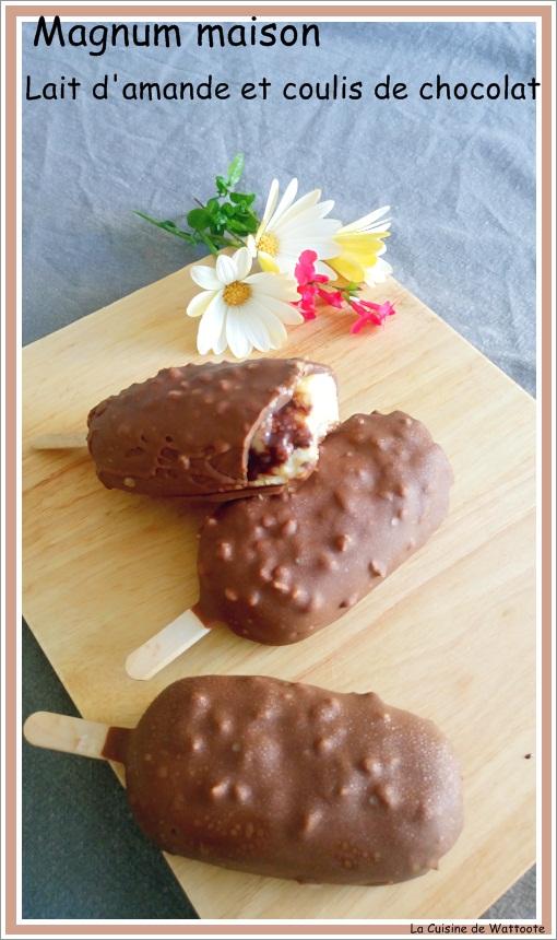 magnum maison au lait d 39 amande et coulis de chocolat la cuisine de wattoote. Black Bedroom Furniture Sets. Home Design Ideas