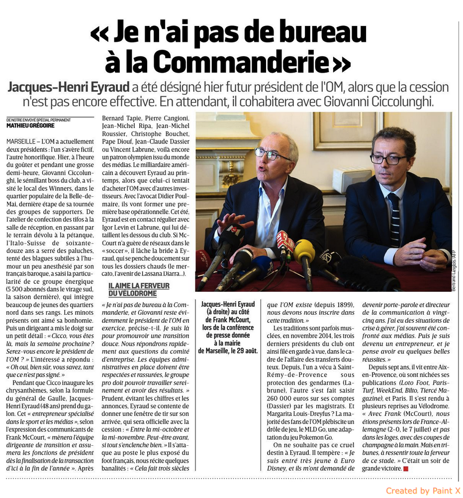 [Staff] Jacques-Henri Eyraud président directoire de l'OM 160910090730805291