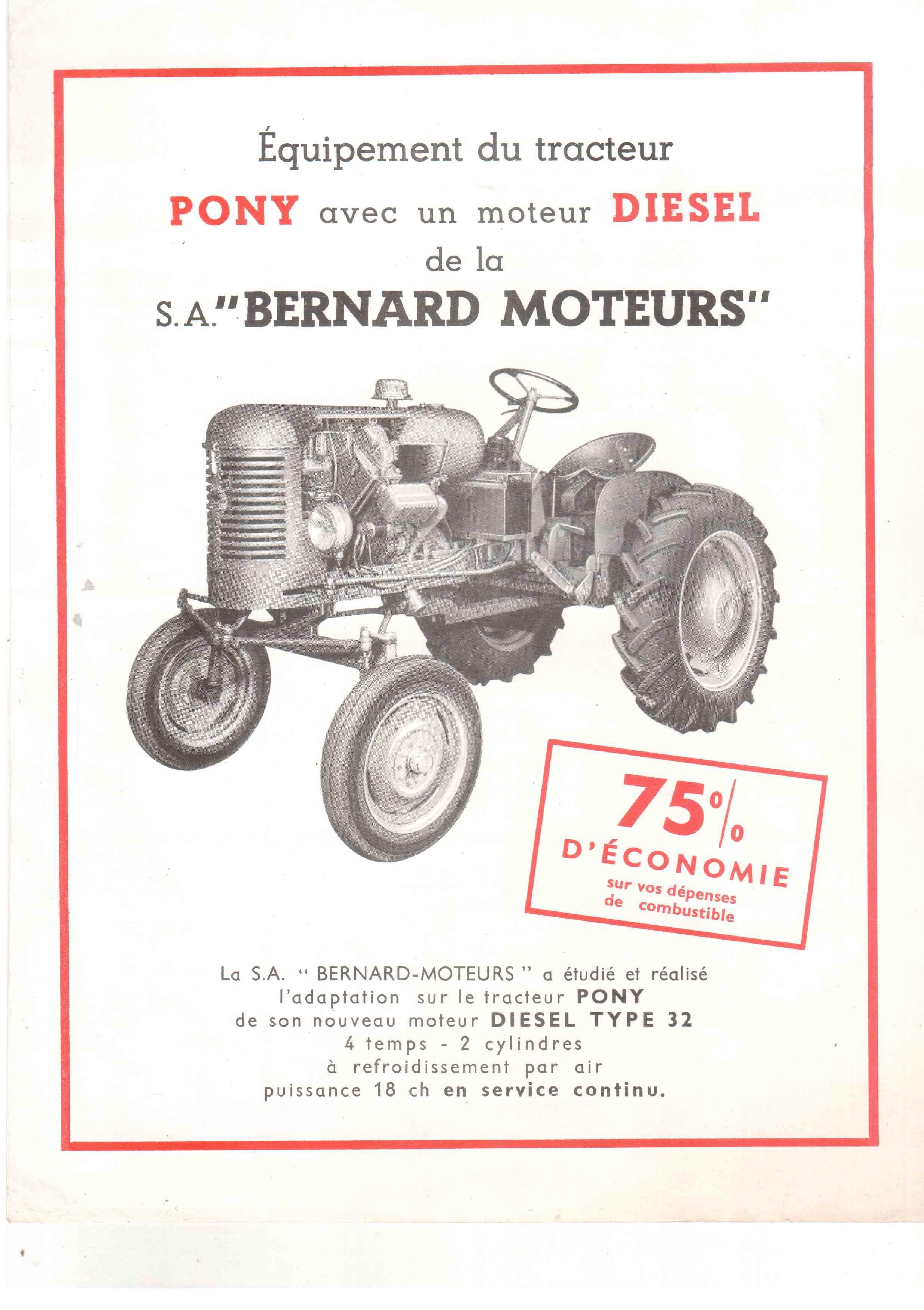 moteur bernard diesel type w 32 pour le tracteur pony. Black Bedroom Furniture Sets. Home Design Ideas