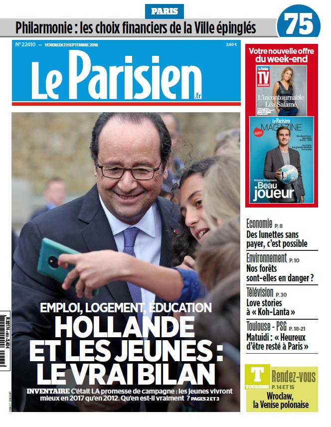 Le Parisien + Journal de Paris du Vendredi 23 Septembre 2016