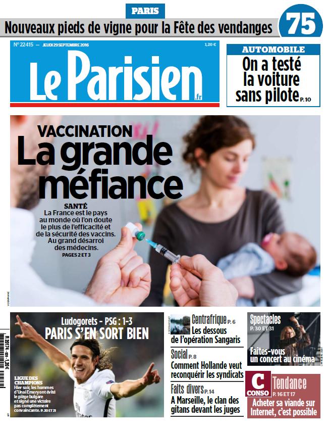 Le Parisien + Journal de Paris du Jeudi 29 Septembre 2016