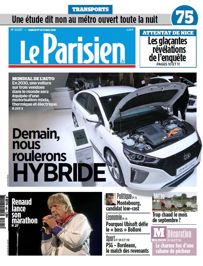 Le Parisien + Journal de Paris du Samedi 1 Octobre 2016
