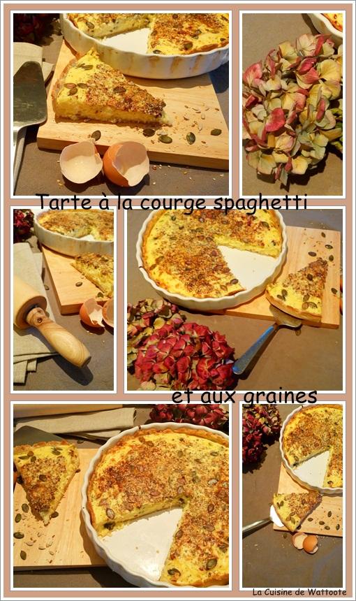 tarte courge spaghetti et graines
