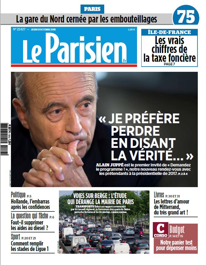 Le Parisien + Journal de Paris du Jeudi 13 Octobre 2016