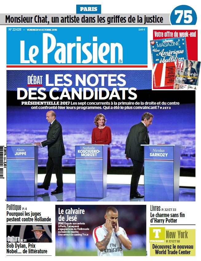 Le Parisien + Journal de Paris du Vendredi 14 Octobre 2016