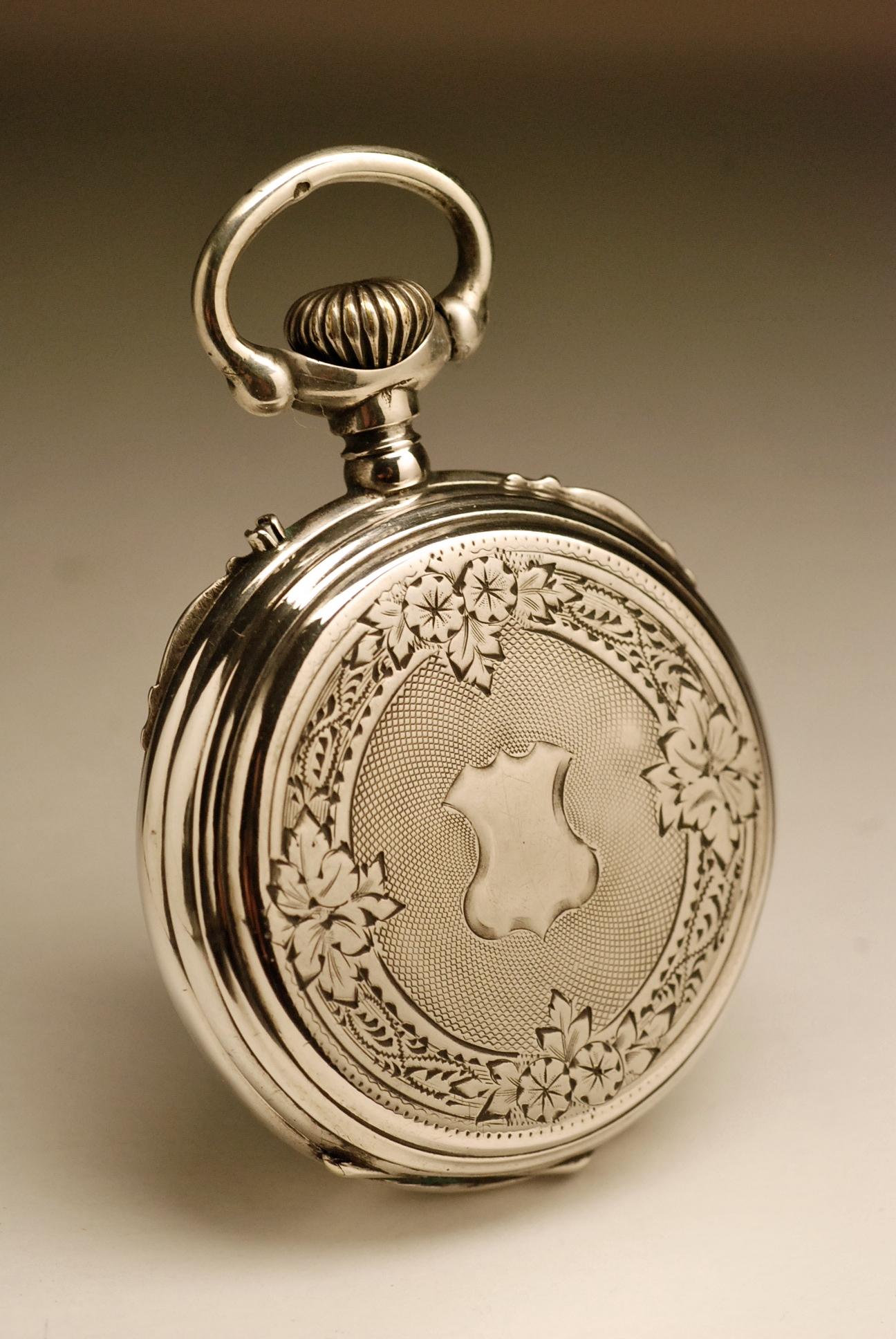 montre ancienne gousset art nouveau en argent 1890 silver. Black Bedroom Furniture Sets. Home Design Ideas
