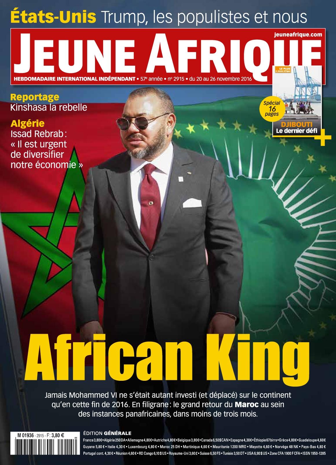 Jeune Afrique 2915 - 20 au 26 Novembre 2016