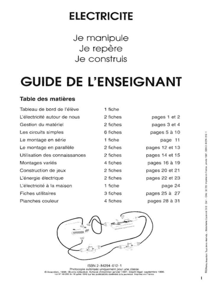 Cours - CE2 - CM1 - CM2 - Electricité, Guide de l'enseignant.