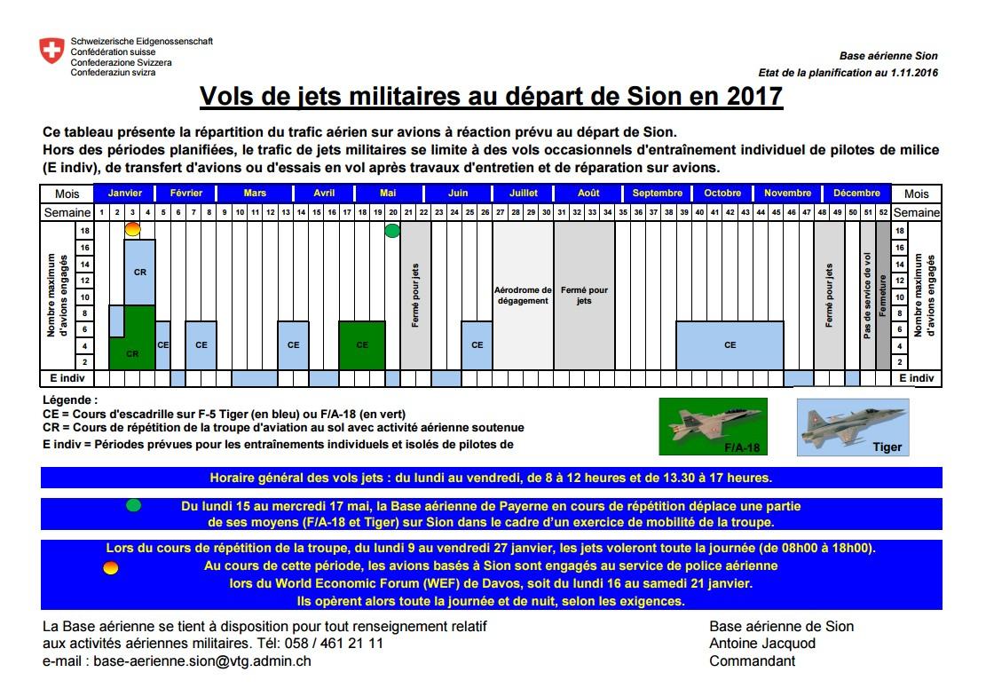La base aérienne de Sion sera en alerte pour le WEF 2017 170112011237558401