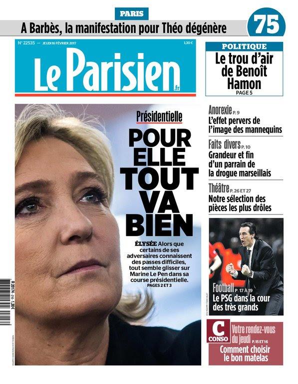 Le Parisien + Journal de Paris du jeudi 16 février 2017