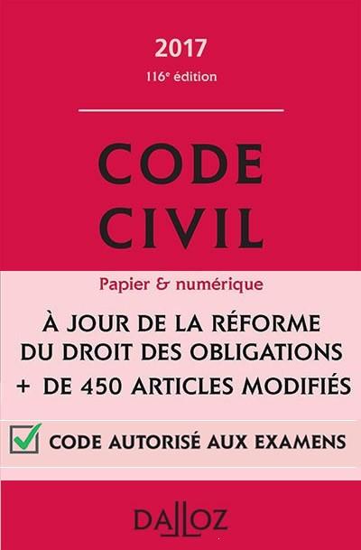 télécharger Code Civil Français 2017 Dalloz [Complet] Mars 2017
