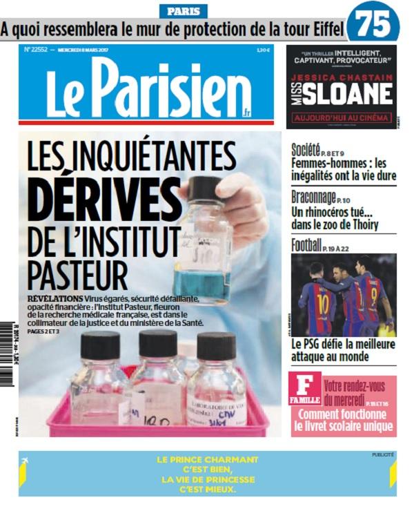 télécharger Le Parisien + Journal De Paris Du Mercredi 8 Mars 2017