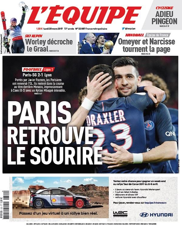 télécharger L'Equipe Du Lundi 20 Mars 2017