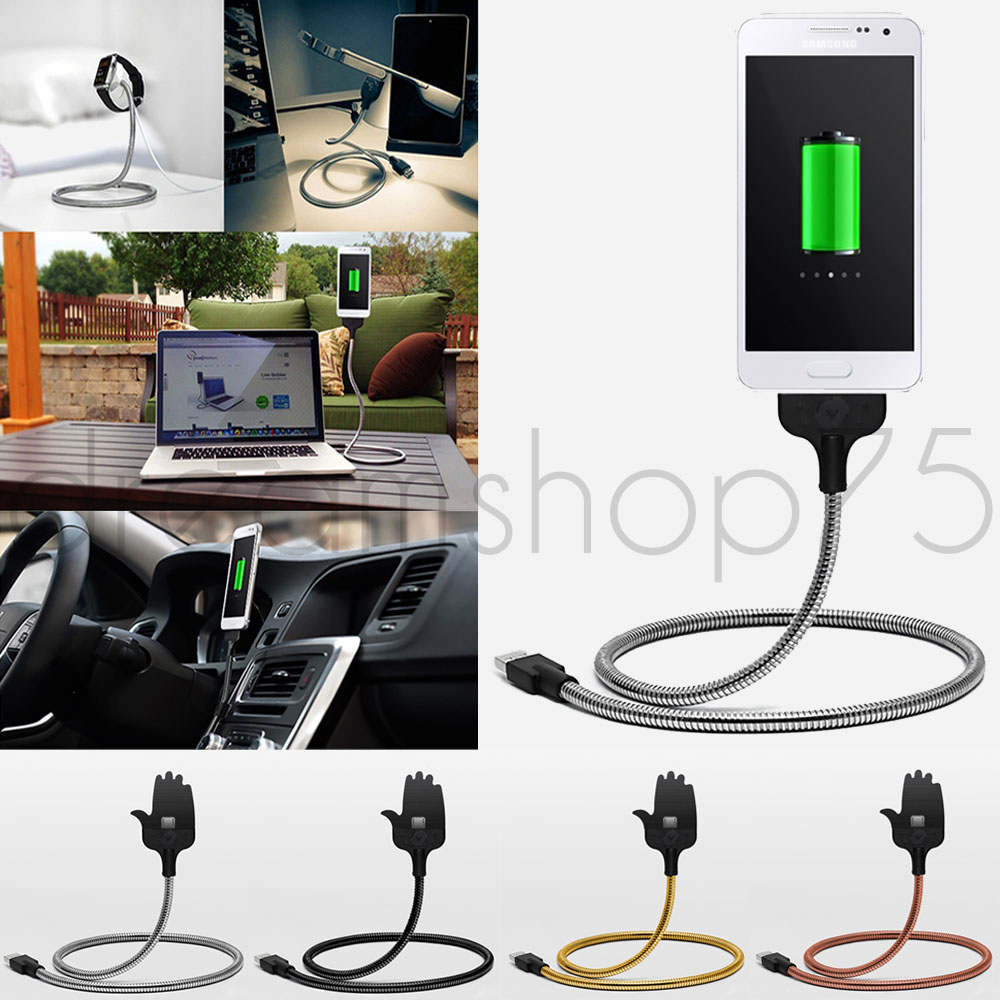 cable chargeur flexible micro usb pour iphone et android bureau voiture ebay. Black Bedroom Furniture Sets. Home Design Ideas
