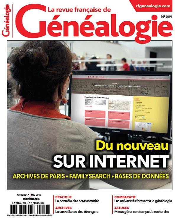 télécharger La Revue Française De Généalogie N°229 - Avril-Mai 2017