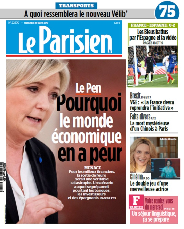 télécharger Le Parisien + Journal De Paris Du Mercredi 29 Mars 2017