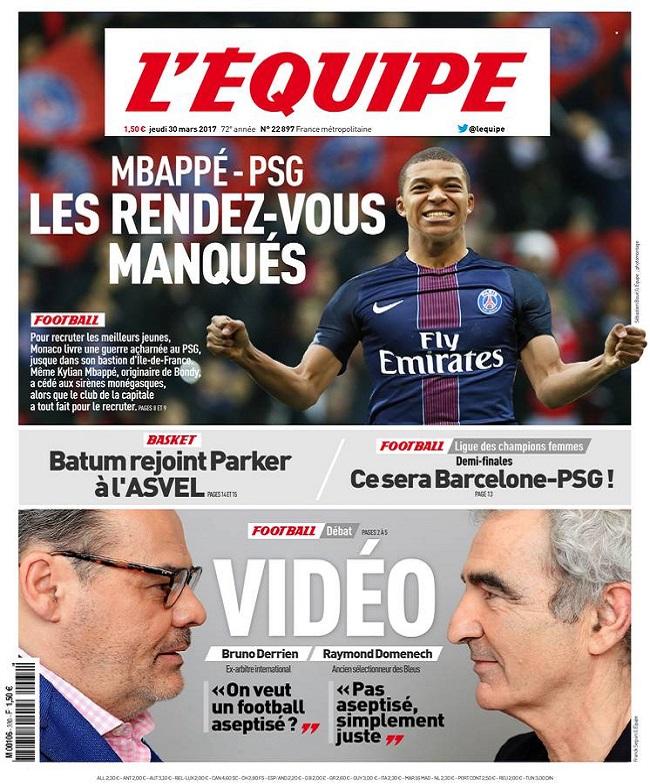 télécharger L'Equipe Du Jeudi 30 Mars 2017