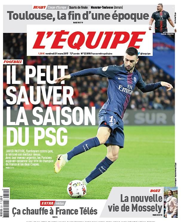 L'Equipe Du Vendredi 31 Mars 2017