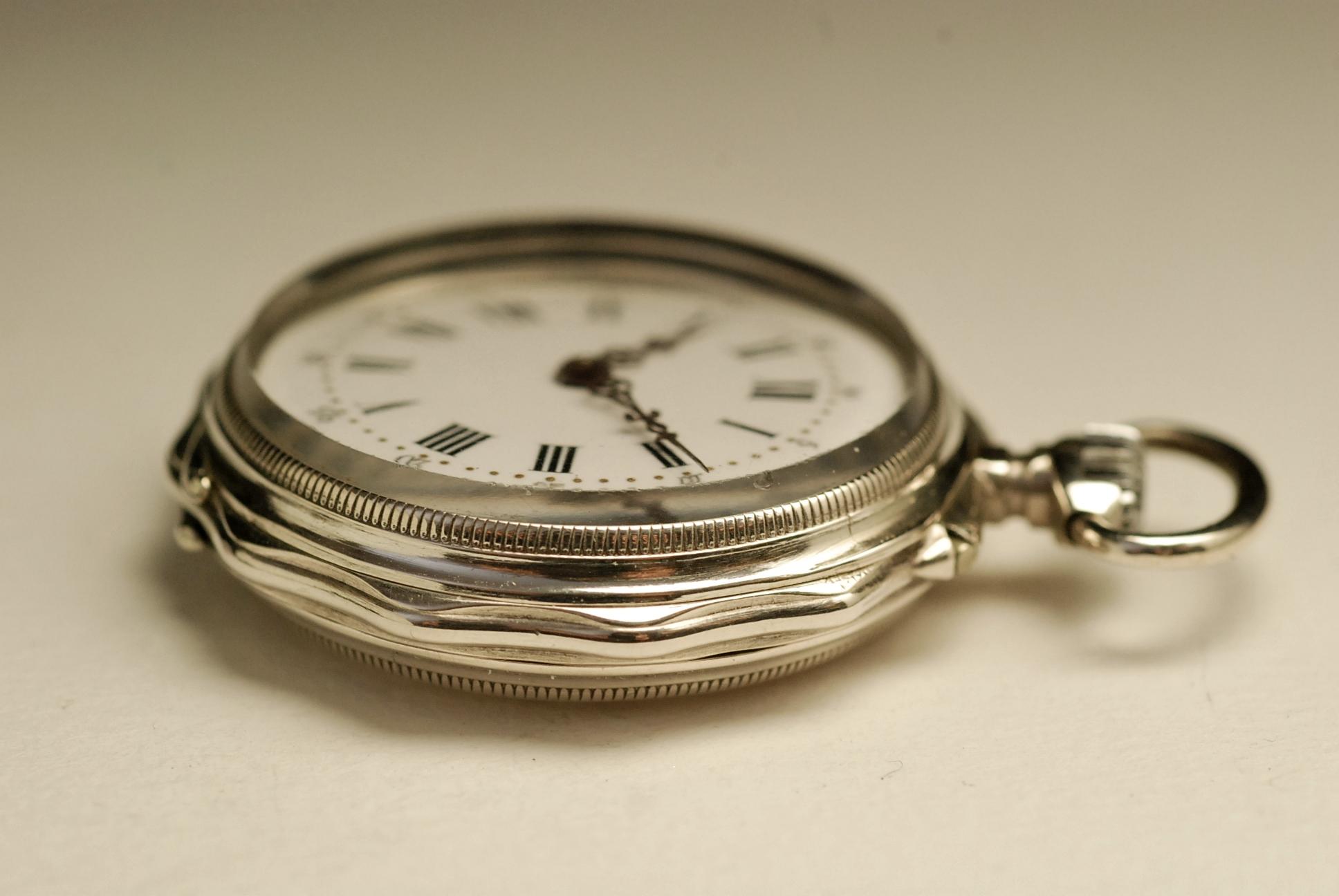 ancienne montre gousset col en argent 1880 vintage silver. Black Bedroom Furniture Sets. Home Design Ideas