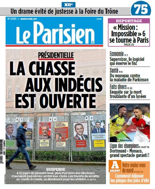 télécharger Le Parisien + Journal De Paris Du Mardi 11 Avril 2017