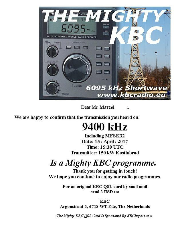 eQSL de KBC via Bulgarie 170416045531660424