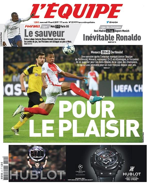 télécharger L'Equipe Du Mercredi 19 Avril 2017