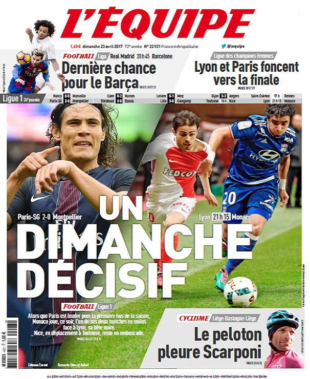 télécharger L'Equipe Du Dimanche 23 Avril 2017