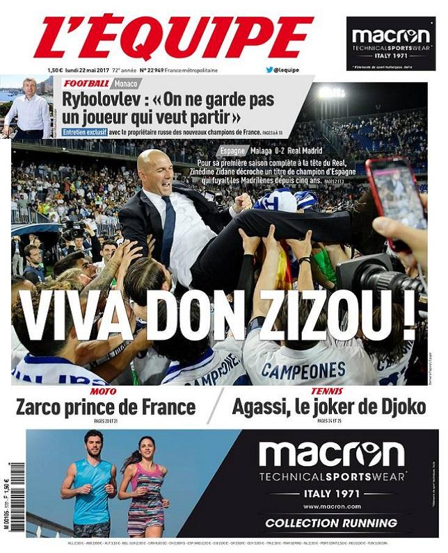 télécharger L'Equipe Du Lundi 22 Mai 2017