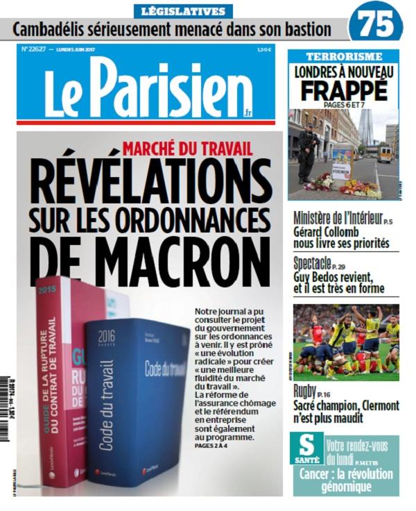 télécharger Le Parisien + Journal De Paris Du Lundi 5 Juin 2017